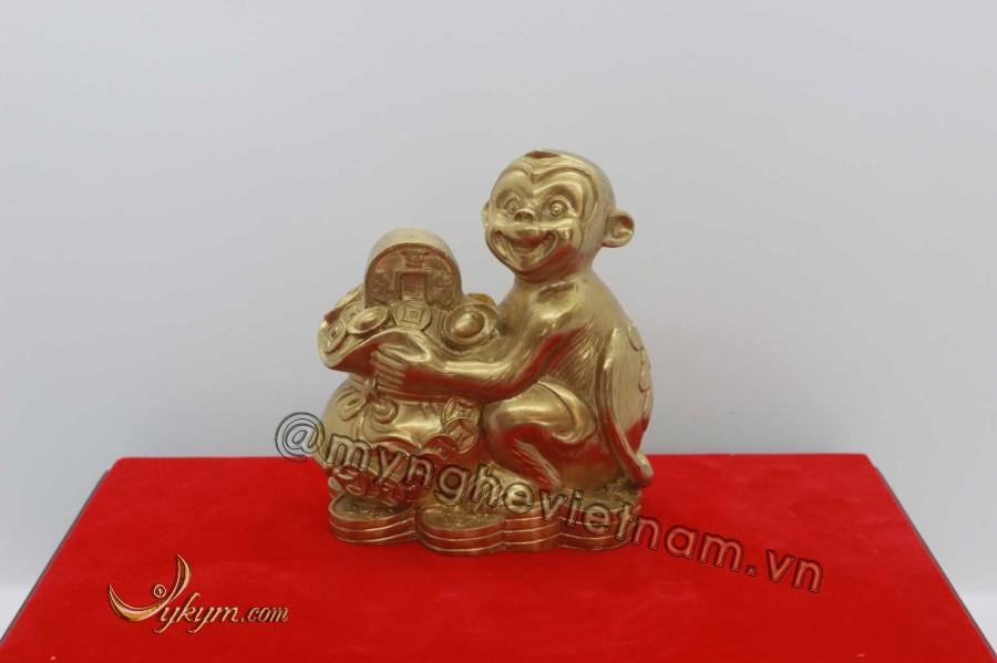 Khỉ ôm túi vàng bằng đồng vàng 10cm0