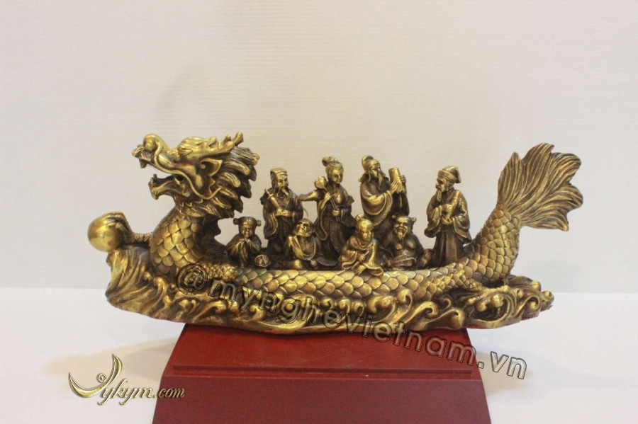 Tượng bát tiên quá hải bằng đồng vàng 30cm0
