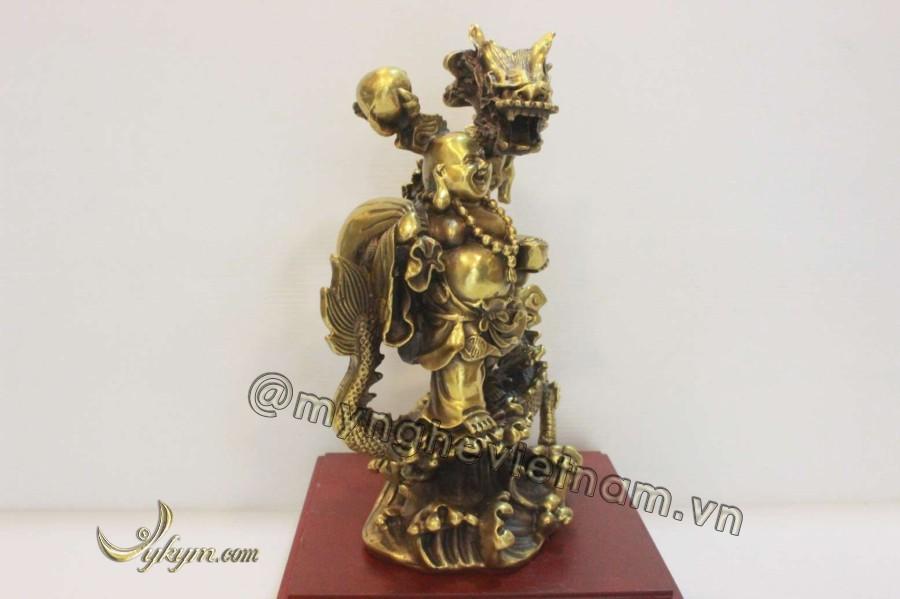 Tượng di lặc đứng rồng bằng đồng vàng 25cm0