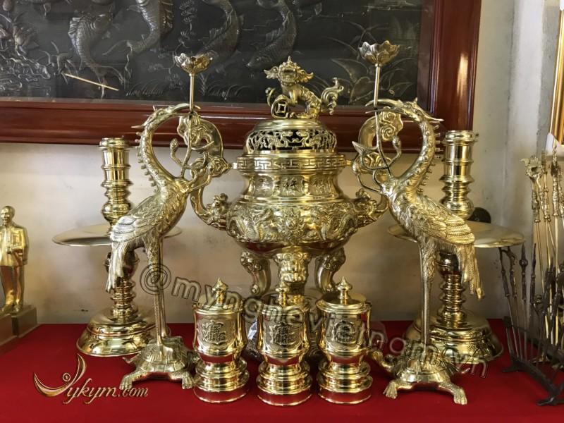 Bộ đỉnh rồng phượng 60cm bằng đồng vàng0